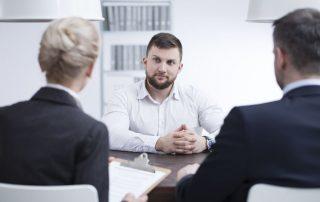 man having interview