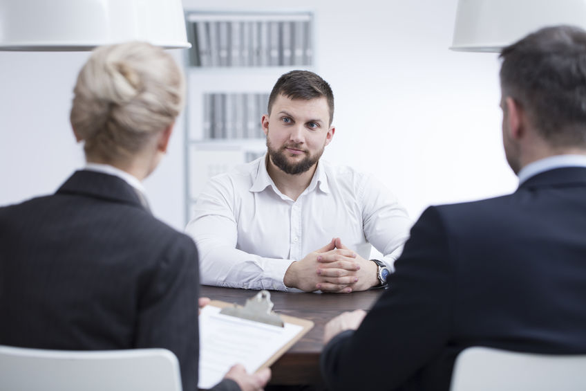 man having interview
